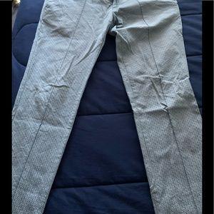 Blue printed skinny trousers